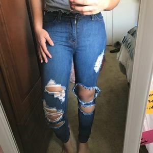 Fashion Nova High Waisted Distressed Jeans